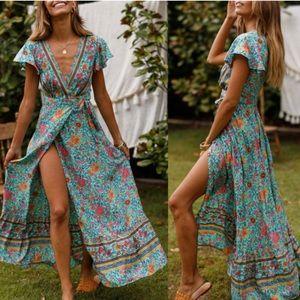 Dresses & Skirts - Blue Boho Maxi Dress
